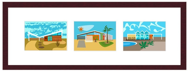 Nat Reed Googie Triptych Graphic Art Prints