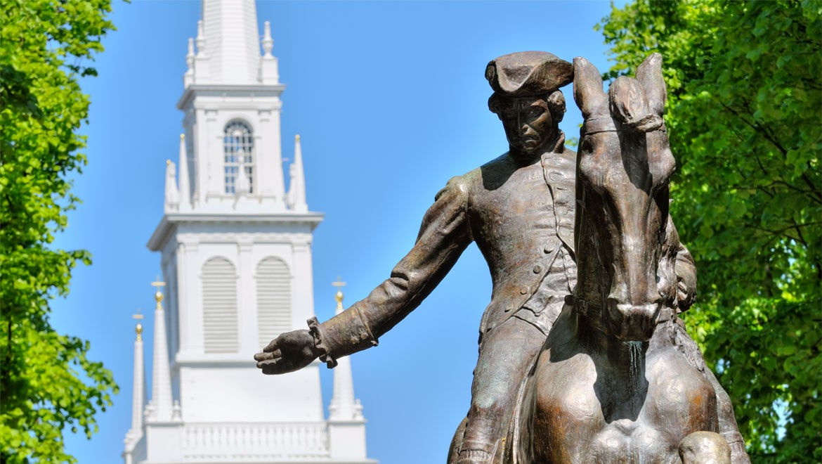 Paul Revere with the Old North Church in background Photo: Omnihotels.com