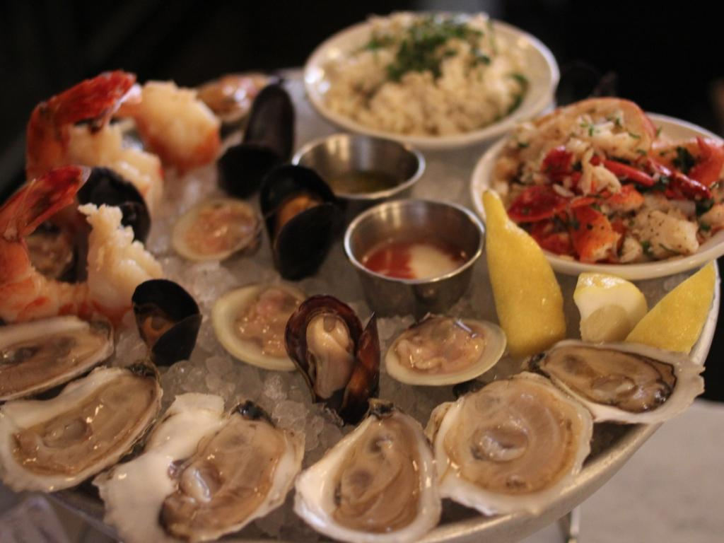 Raw seafood bar items Boston