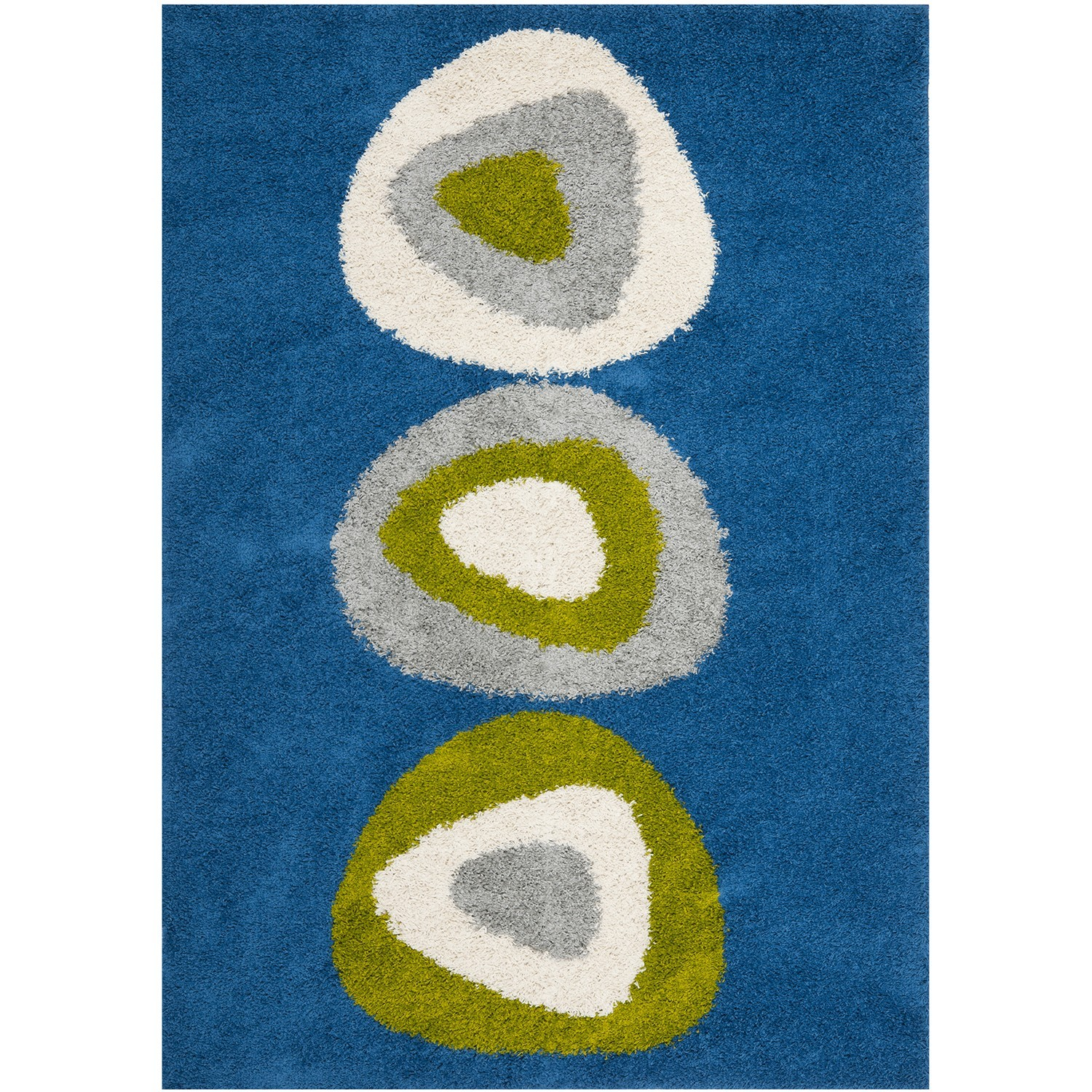 A blue area rug containing three circles with various displays of green, cream, and gray.