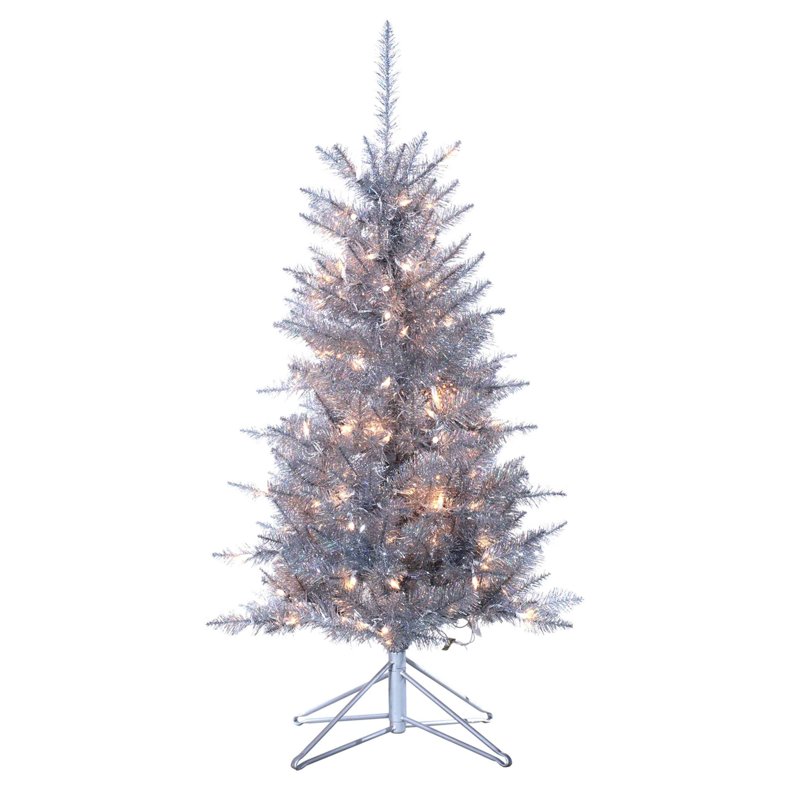 If You Have A Smaller Space To Work With, A Smaller, Funkier Tree Might Be  Just What You Need. This 4ft Pre Lit Artificial Christmas Pine In Silver  Tiffany ...