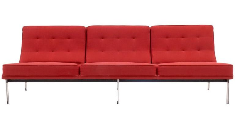 Florence Knoll Parallel Bar Three Seat Red Sofa