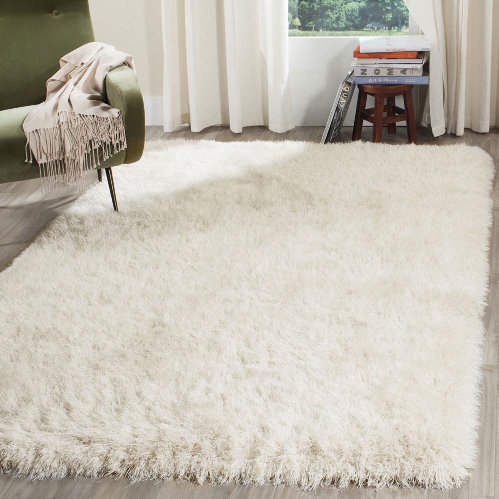 pearl white shag rug