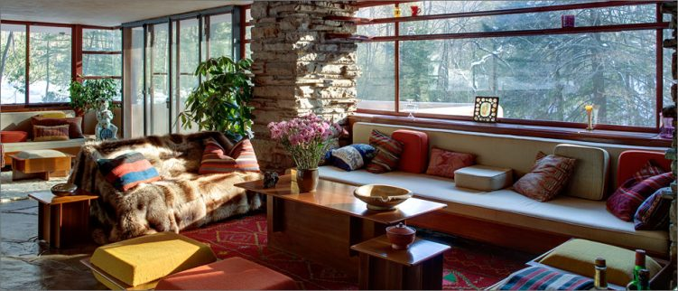 fallingwater seating area with windows