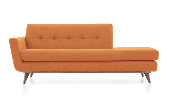 atomic orange midcentury style sofa