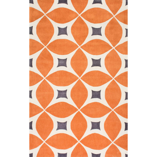 atomic orange midcentury style rug