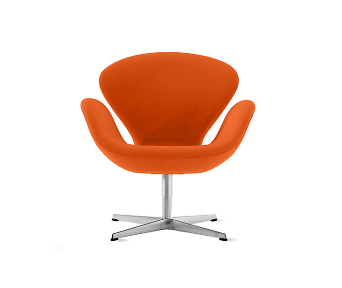 atomic orange swan chair by arne jacobsen