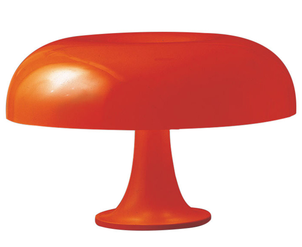 atomic orange modernist table lamp