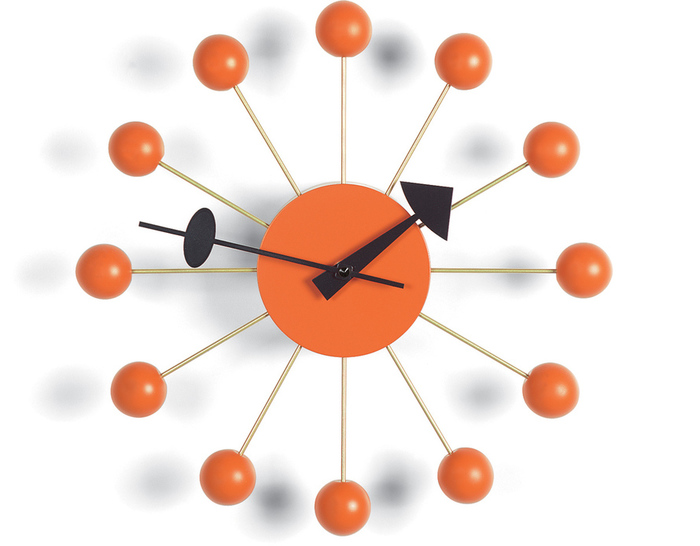 george nelson ball clock in atomic orange