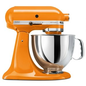 Kitchenaid stand mixer in atomic orange