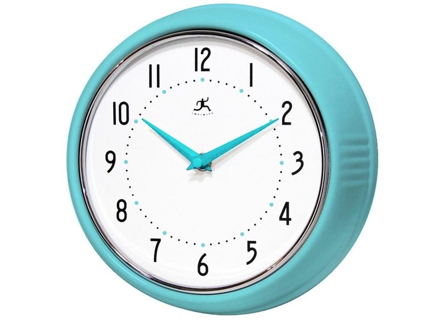 Retro wall clock (turquoise), Infinity Instruments.