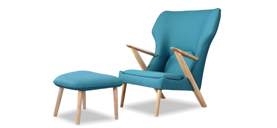 Cub chair and ottoman in urban surf and ash