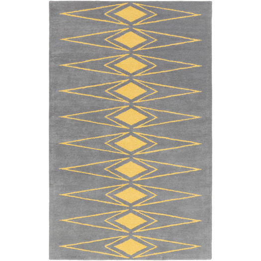 grey and yellow tufted rug