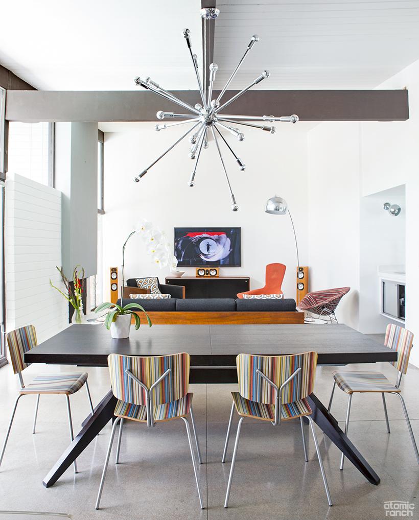 sputnik chandelier in dining room