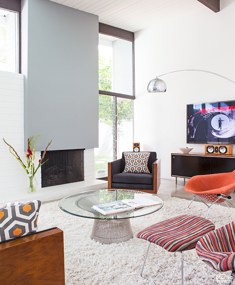 George Nelson entertainment center and Platner coffee table