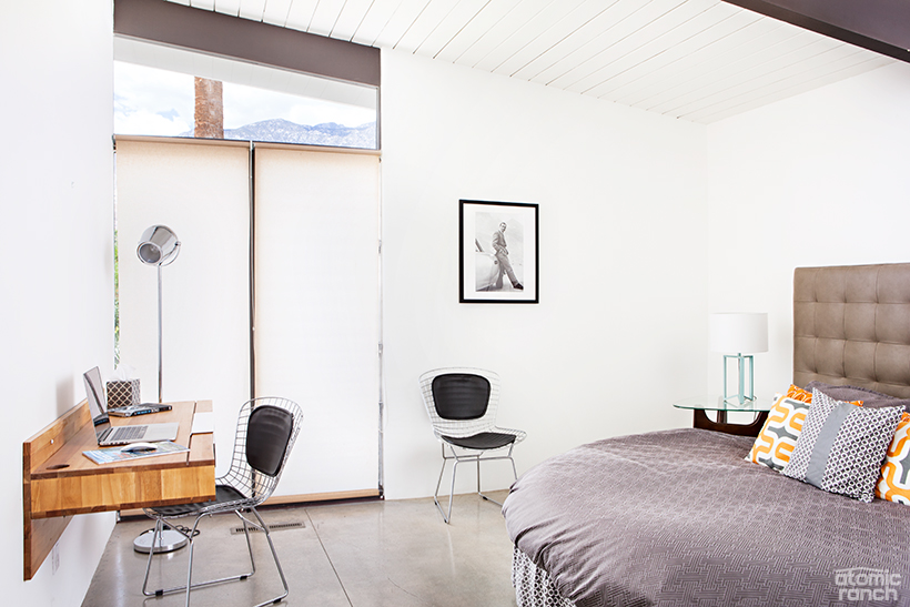 Ikea bed and Bertoia chairs in the guest bedroom