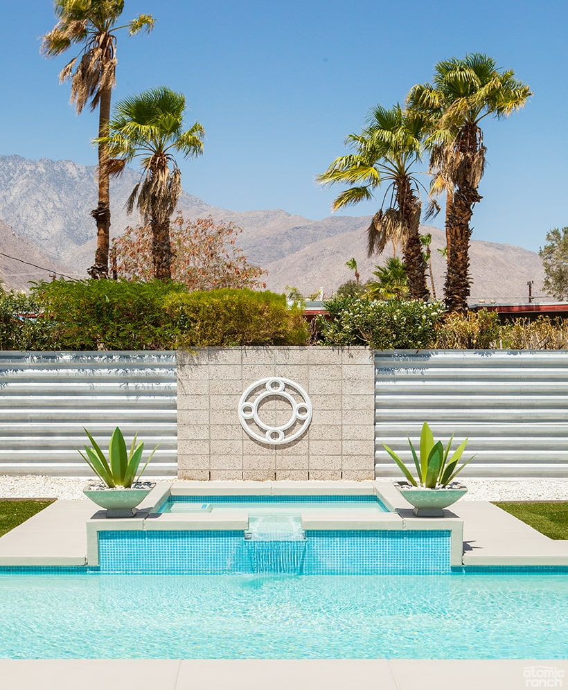 Palm Springs pool with metal fabricated succulents