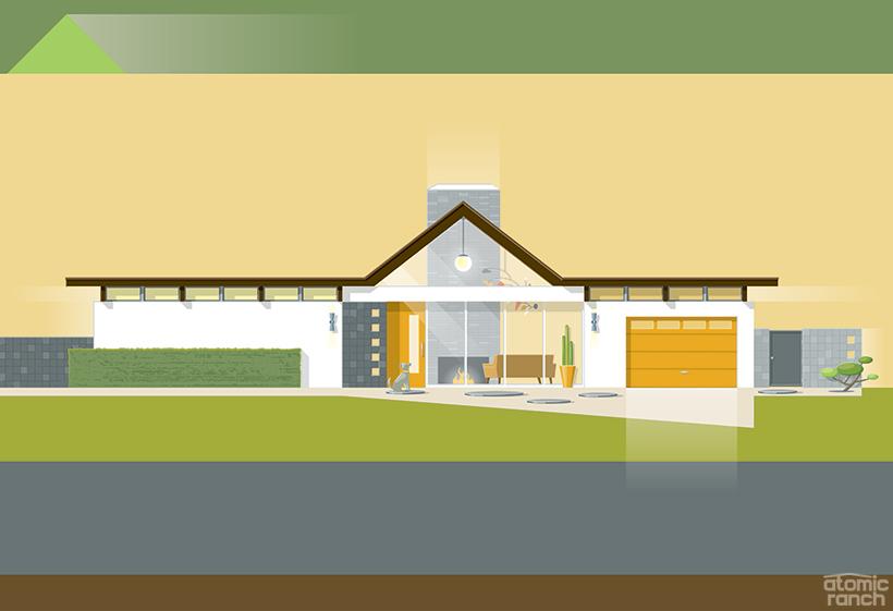 midcentury modern a-frame house