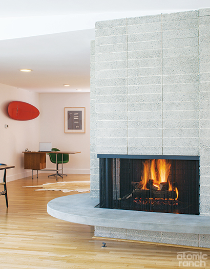 restored concrete block fireplace