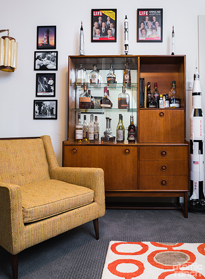 vintage bourbon bar with LIFE magazine