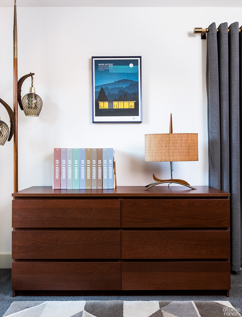 credenza and pole lamp