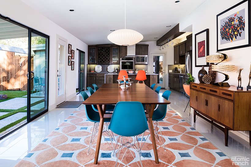 dining room with Eames Eiffel chairs