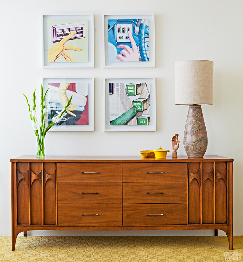midcentury credenza and artwork
