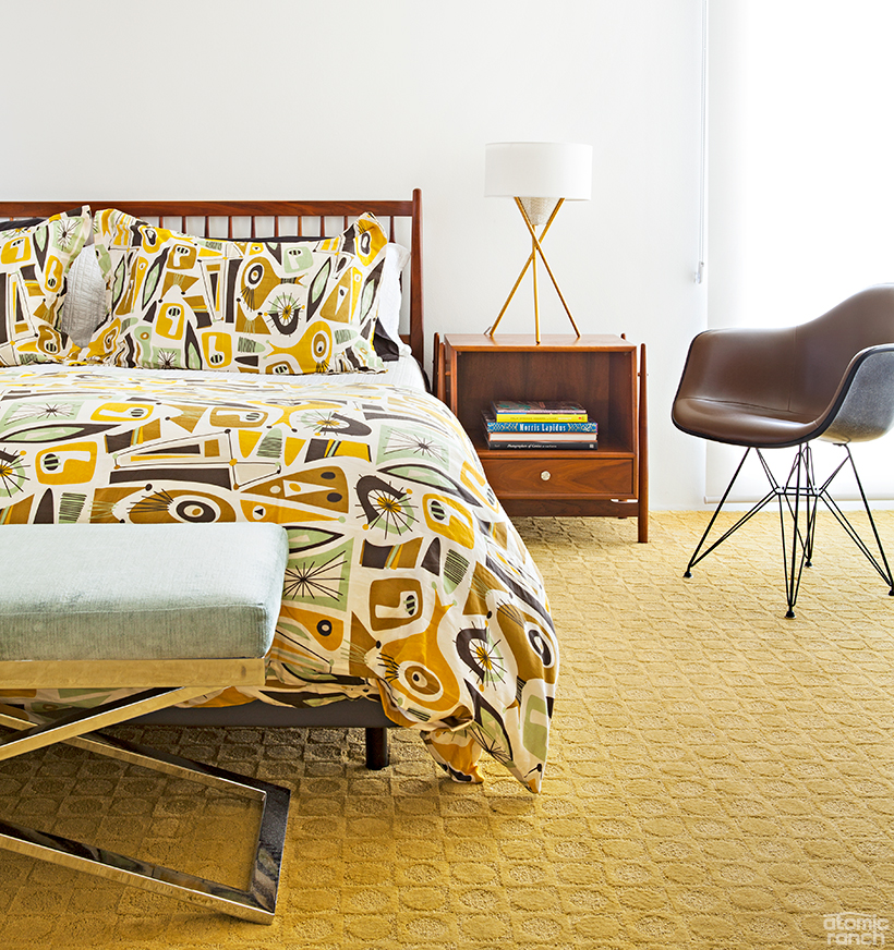 sinin linen bedspread and eames chair