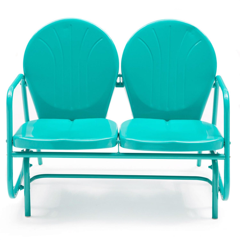 Aqua Blue Loveseat Glider Chairs