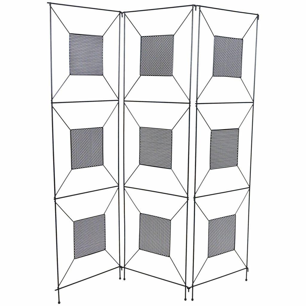 Frederick Weinberg Mid-Century Modern Geometric Iron Screen or Room Divider