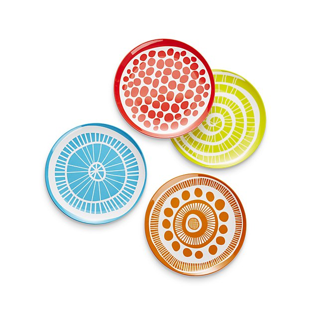 medallion melamine plates from crate & barrel
