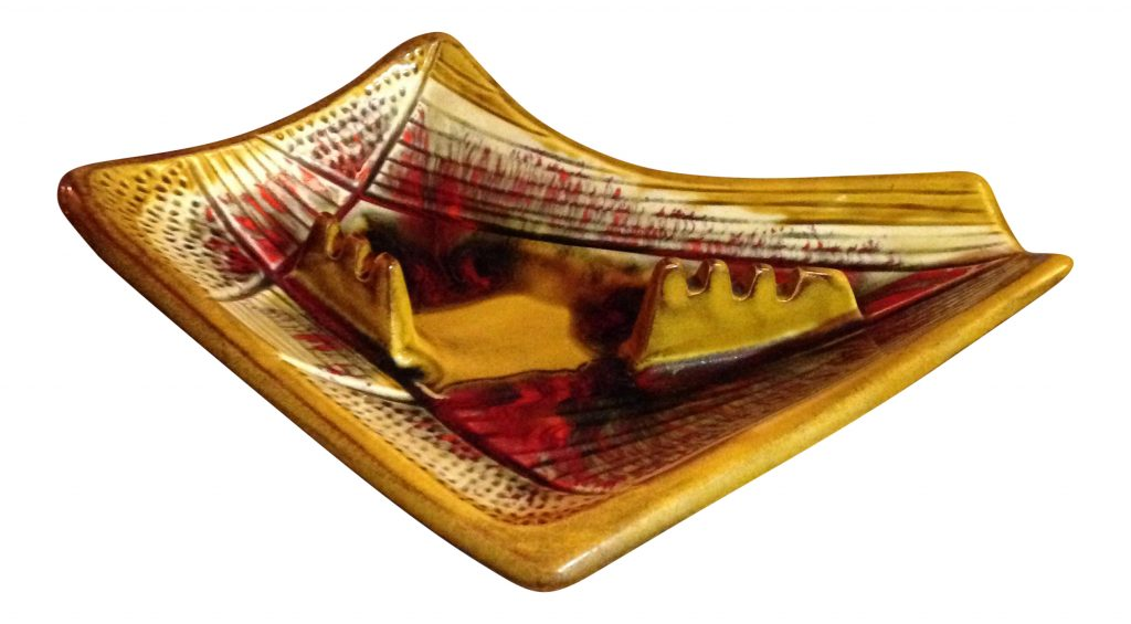 California Pottery red and yellow ashtray.