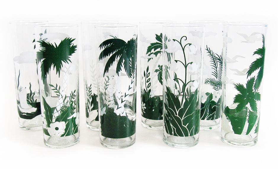 Tropical tiki highball glasses