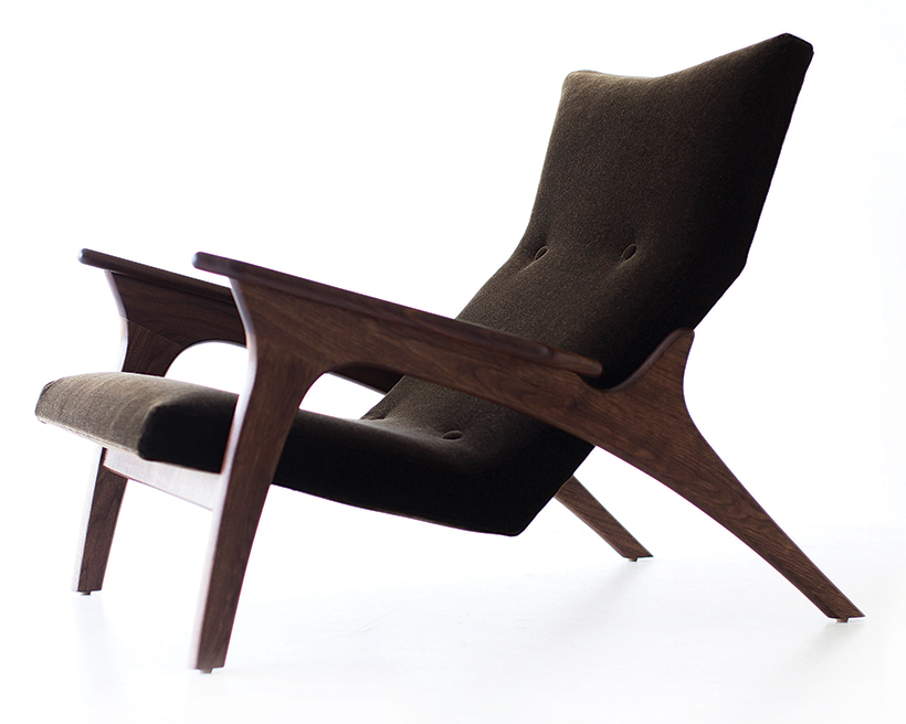 modern wooden arm wing chair by Craft associates