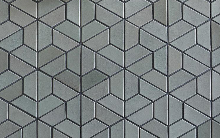Half hex tile in M63 Fog, Heath Ceramics
