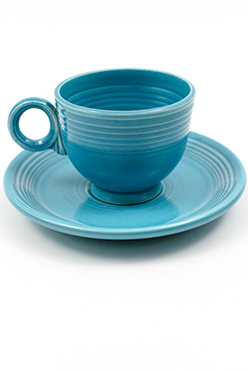 Vintage Fiesta teacup and saucer in turquoise  sc 1 st  Atomic Ranch & 7 Vintage Dinnerware Sets - Home