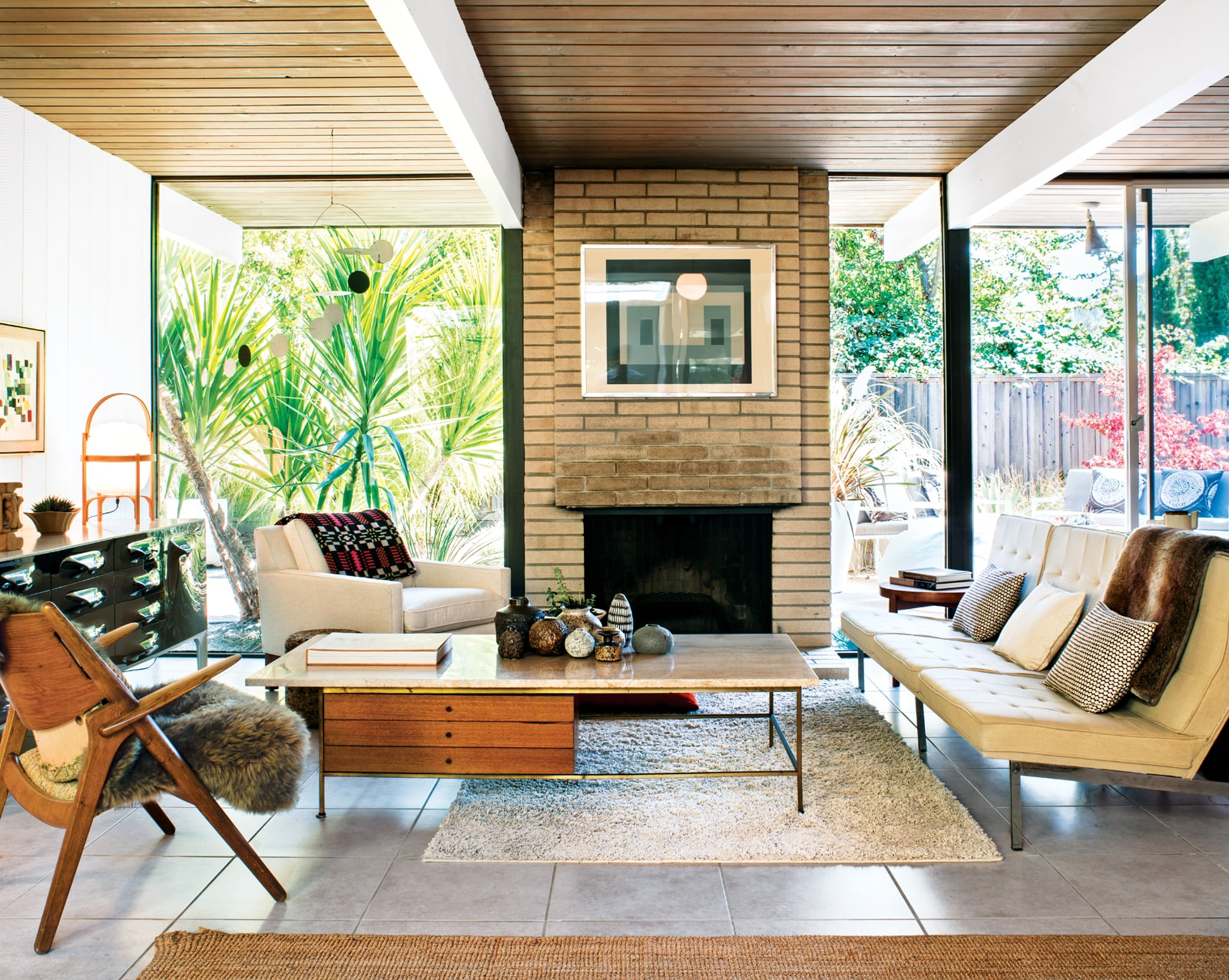Mid Century Home Design. travertine flooring living room Flooring 101  Materials galore for a just right retro floor Home