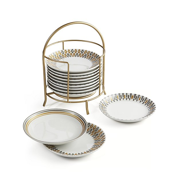 Metallic Plates with Stand, Set of 12