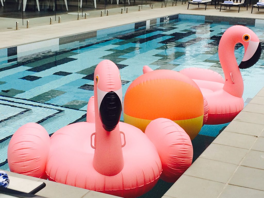 mid century modern pool flamingo floaties color block tile