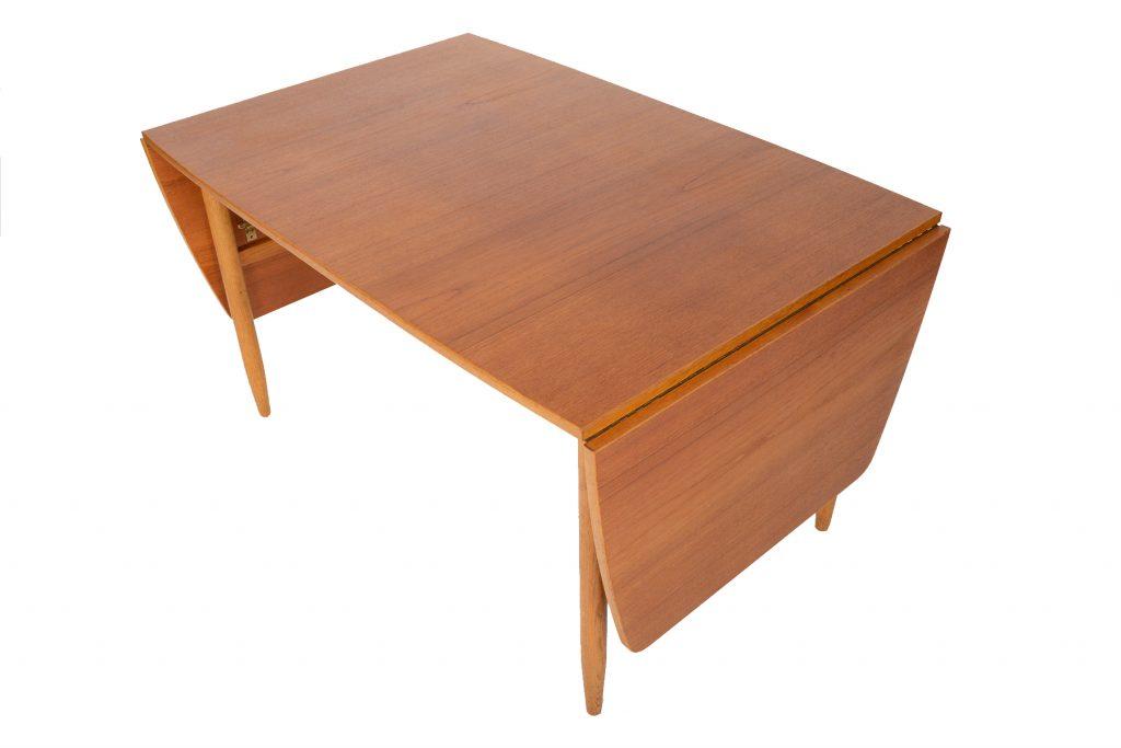 Teak + Oak Drop Leaf Dining Table