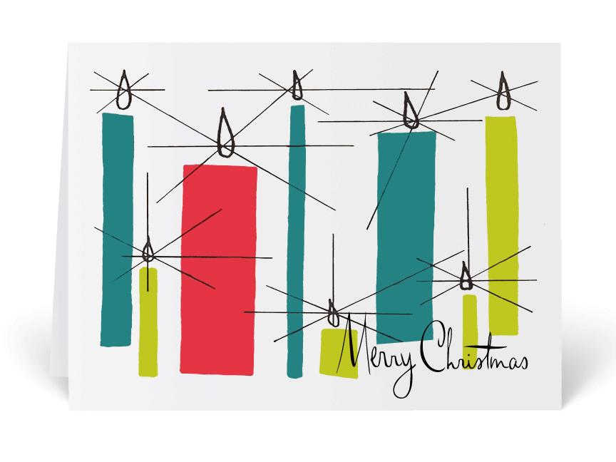 midcentury modern vintage christmas card candles - Modern Christmas Cards