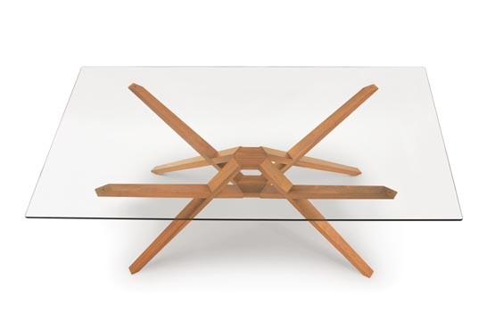 Exeter Glass Top Table in Cherry