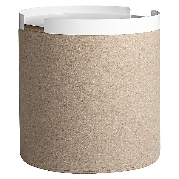 mod storage solution-- a cork look storage ottoman with a white removable tray