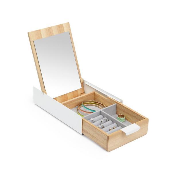 white and birch hidden storage jewelry box for your mod storage needs