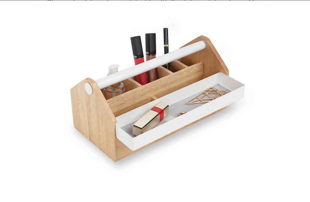 white and wood tool caddy modern storage pick