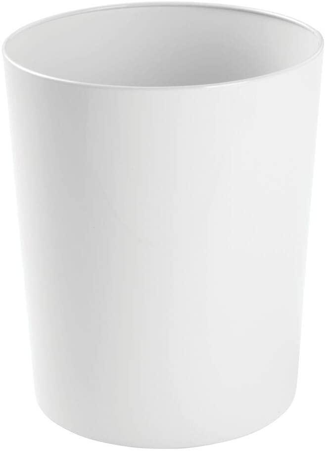 White circular wastebasket.