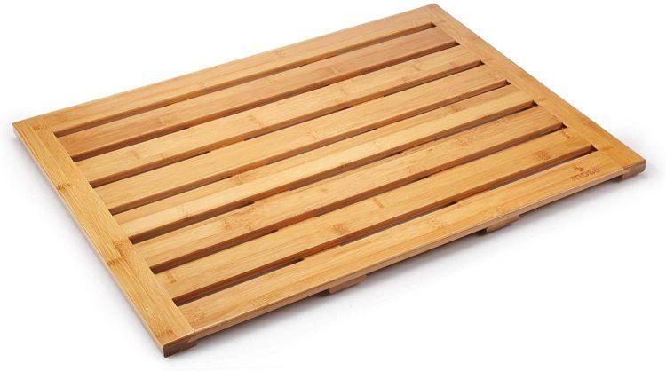 Midcentury bathroom wooden mat.