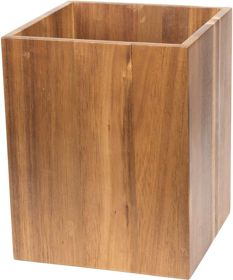 Midcentury bathroom wooden wastebasket.