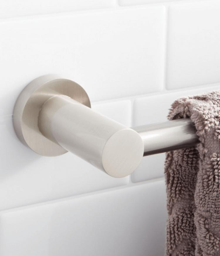 Midcentury bathroom metal towel hook.