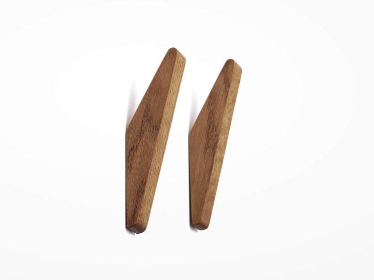 Mid century wooden bathroom hooks.